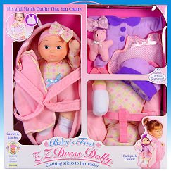 "Goldberger Doll Mfg / 13"" Baby's First EZ Dress Dolly™ Travel & Go Playset"